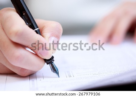 Woman working with documents - stock photo