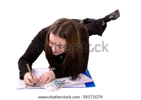 Woman working with money and securities.