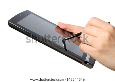 Woman working with tablet computer - stock photo