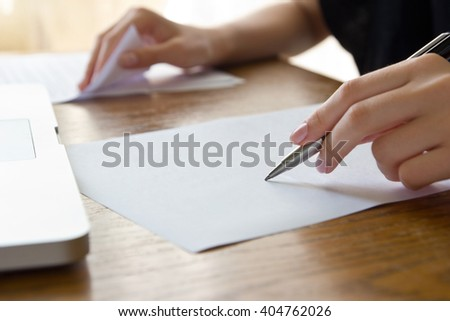 woman working with text - stock photo