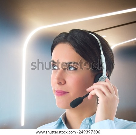 Woman works to customer support in company - stock photo