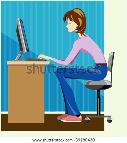 Woman writer working on computer. Vector version is available in portfolio. - stock photo