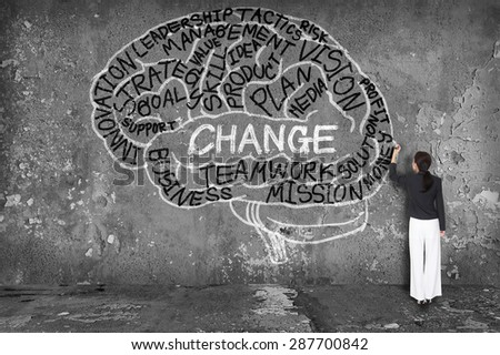 woman writing change with brain on wall - stock photo
