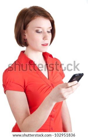 Woman writing message with her smart phone - stock photo