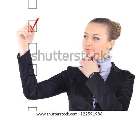 Woman writing on virtual screen - stock photo