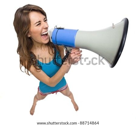 Woman yelling in a megaphone isolated on white - stock photo