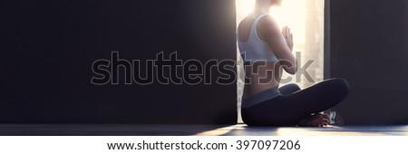 Woman Yoga Practice Pose Training Concept - stock photo