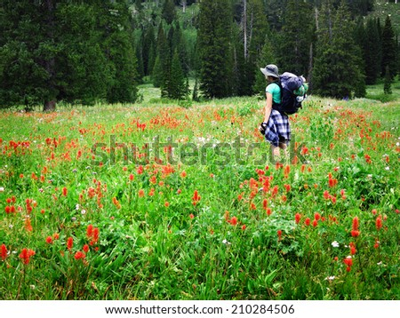 Woman young backpacking in wildflowers taking photograph - stock photo