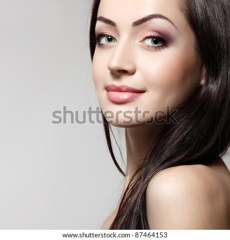 woman young beautiful cheerful enjoying isolated - stock photo