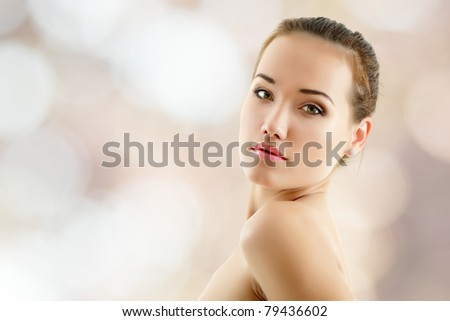 woman young beautiful over nature background - stock photo