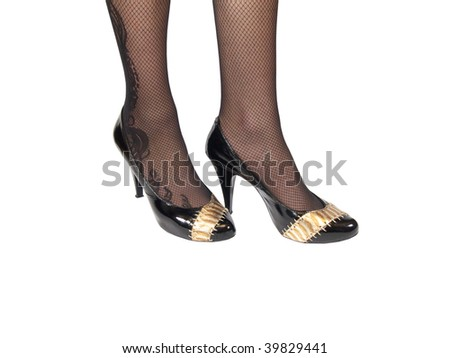 womanish shoes on feet - stock photo