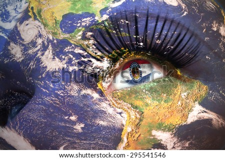 womans face with planet Earth texture and missouri state flag inside the eye. Elements of this image furnished by NASA. - stock photo