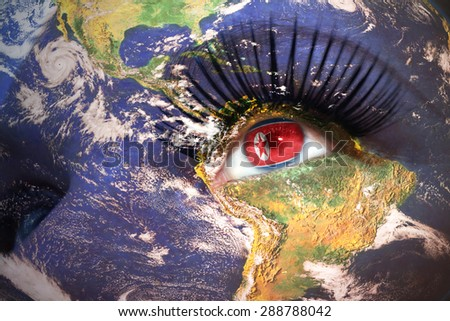 womans face with planet Earth texture and north korea flag inside the eye. Elements of this image furnished by NASA. - stock photo