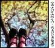 womans feet on the tree - stock photo