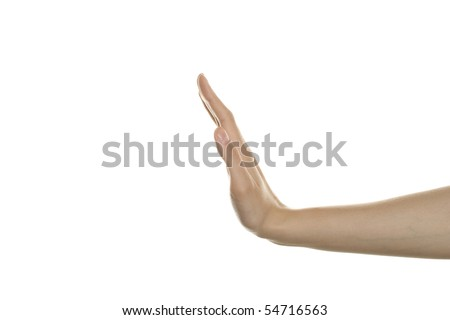 Womans hand showing stop gesture - stock photo