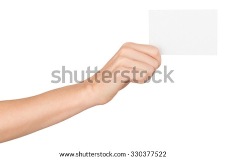 Womans right hand with small blank paper on isolated white background