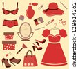 Women accessories. Rasterized version. Vector format also available - stock photo