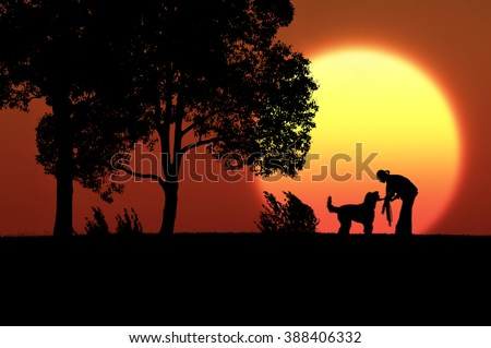 Women and dog silhouette to walk the evening