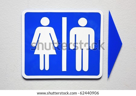 Women and Men Toilet Sign in blue. - stock photo