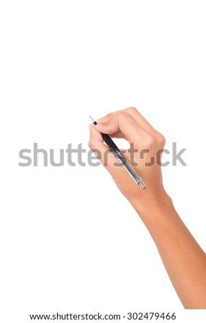 women arm writing with metallic pen on white background - stock photo