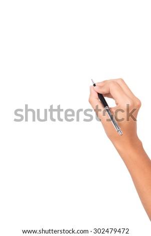 women arm writing with metallic pen on white background - stock photo