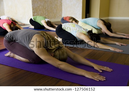 Women at yoga class bending forward on their yoga mats - stock photo