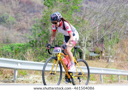 "Women biking on the racetrack in ""Suan Phueng angle star challange 2016"" at Ratchaburi province Thailand when 26-3-2016"