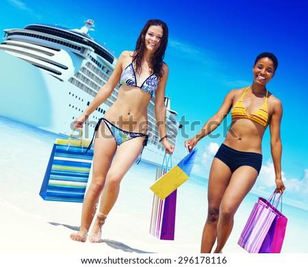 Women Bikini Shopping Bags Beach Summer Concept - stock photo