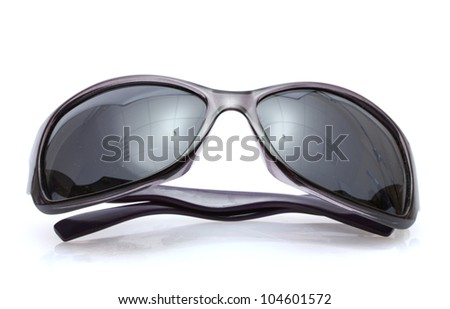 Women black sunglasses isolated on white