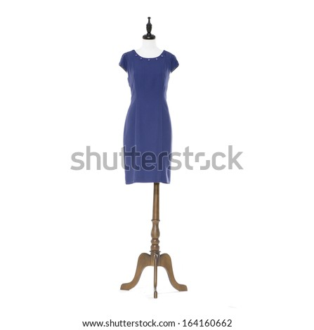 Women blue evening dress on a dummy isolated  - stock photo