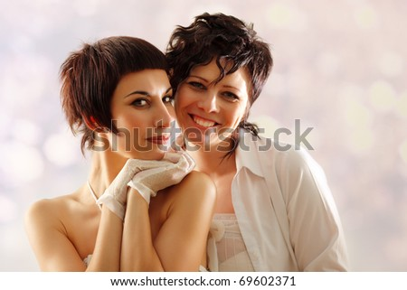 women couple happy attractive - stock photo