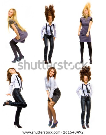 Women Diversity SERIOUS FUN Concept  - stock photo