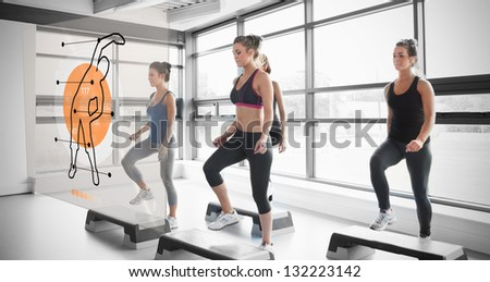 Women doing exercise with futuristic interface demonstration coach-like - stock photo