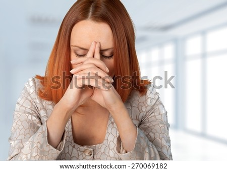 Women. Exhausted businesswoman - stock photo