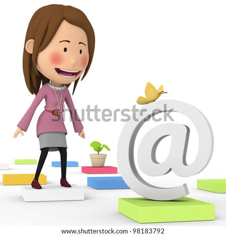 Women expected e-mail - stock photo