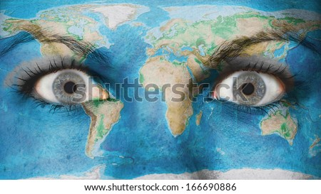 Women eye, close-up, eyes wide open, world map - stock photo