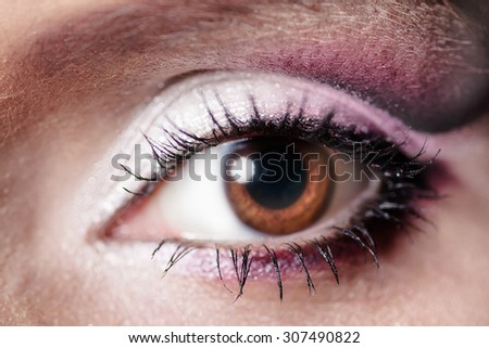 Women eye with lashes macro
