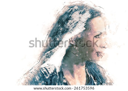 Women face in profile and a lot of copyspace modern art stylized watercolor painting - stock photo
