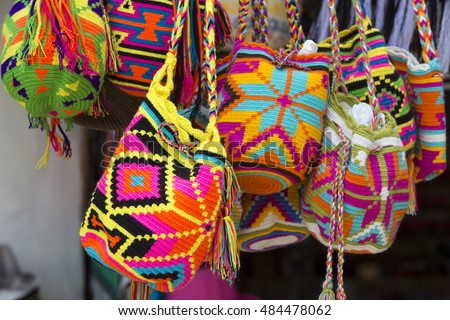 Women fashion accessories, Various items of crocheted bucket-style handbags, Wayuu handcrafted mochilas woolen bags, Colombia - street market / Fashion - Crochet handbags