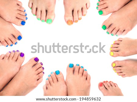 women feet frame isolated on the white background - stock photo