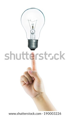 Women fingertip hand point bulb light isolate on over white background - stock photo