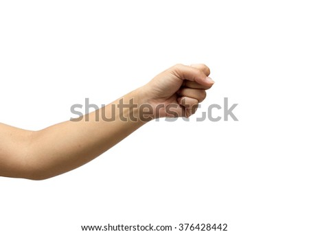 women fist show fight gesture isolated on white background - stock photo