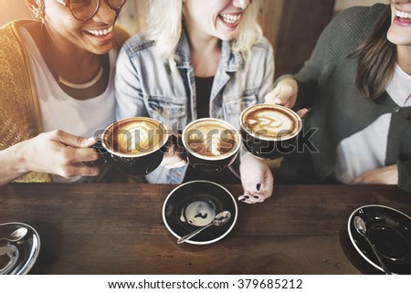 Women Friends Enjoyment Coffee Times Concept - stock photo