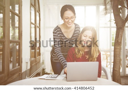 Women Friendship Studying Brainstorming Technology Concept - stock photo