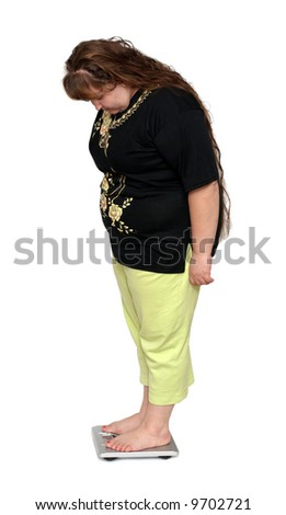 women from one side with overweight looking on bathroom scales - stock photo