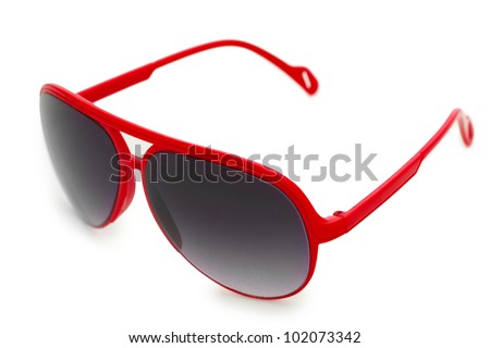Women glamorous red sunglasses isolated on white - stock photo