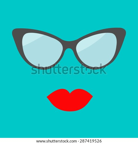 Women glasses and red lips set. Fashion background Flat design.  - stock photo