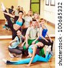 Women group in aerobics class.  Fitness ball. - stock photo