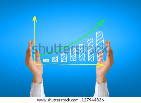 women hand and business graph - stock photo