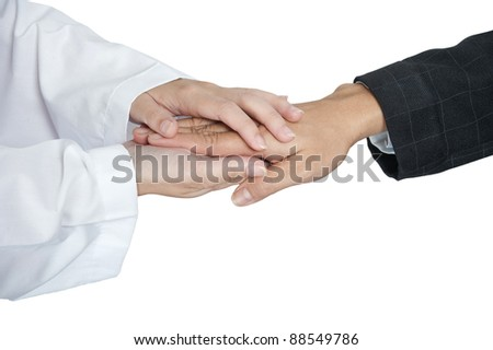 Women hand helping senior - stock photo